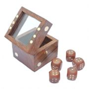 Wooden Dice With Glass Topped Box